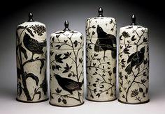 Karen Newgard: Tall Bird Jars; porcelain, 12.5-22 in. x 6-8 in. http://karennewgardpottery.com/lidded-forms/