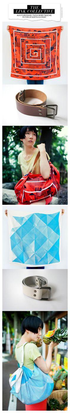 Furoshiki & Brown Leather Carry Strap for Bag Set (Photo : ©Martin Holtkamp http://ma-ho.com/  Model : Chiharu)