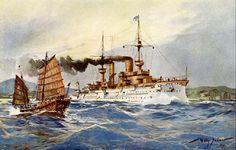 Willy Stöwer - S. M. Kreuzerfregatte Fürst Bismarck unter Volldampf an der chinesischen Küste