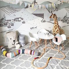 Playroom with Ferm Living Mr. Snake and mural wall