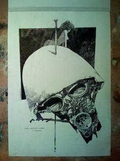 Toppi death mask Comic Art