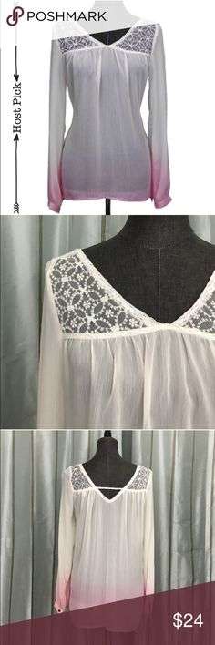 """Lace Accent Boho Sheer Ombre Blouse d e s c r i p t i o n  This gorgeous light and airy ombre top is perfect for fall layering. Lace detailing around the shoulders gives it a beautiful boho touch without being overwhelming. In perfect condition. NO TRADES.  c o n t e n t  100% polyester   8% spandex   3% spandex  m e a s u r e m e n t s ✂️  size + m   bust + 19""""   length + 27""""    p a i r e  w i t h   + Laurel fure vest  bundle for a discount RightAscention Tops"""