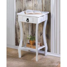 Scalloped Accent Side Table. Decorative glossy white wood accent table with a handy drawer. This stylish white side accent table will compliment any home decor in your home.