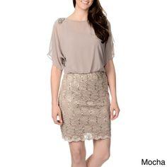 R & M Richards Women's Split-sleeve Blouson Dress | Overstock.com Shopping - Top Rated R & M Richards Evening & Formal Dresses