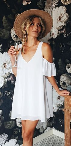 #summer #outfits Cheers To The Weekend About Lost It Over This Fabulous Wallpaper + This Little Dress Might Be My Absolute Favorite Of All Time!
