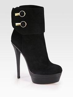 Rachel Zoe Dora Suede Button-Detail Ankle Boots