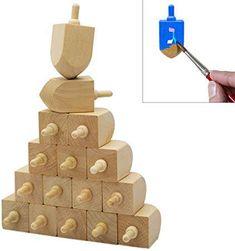 "Hanukkah Wooden Dreidel, Design Your Own 3"" Inch Wooden Chanukah Dreidel, Unfinished Natural Wood Dreidels - Pack of 10"