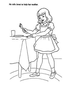 church bible lesson coloring activity sheets god tells janet to help her mother