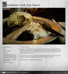 Repin if you want to have breakfast with Jon Snow. More Recipes:  http://itsh.bo/13j58jf #gameofthrones #food #jonsnow #recipes #breakfast