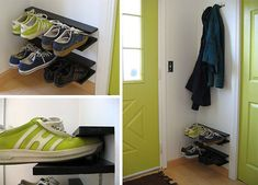 hanging shoe rack for small spaces credit: www.notmartha.org[http://www.notmartha.org/tomake/shoerack/]