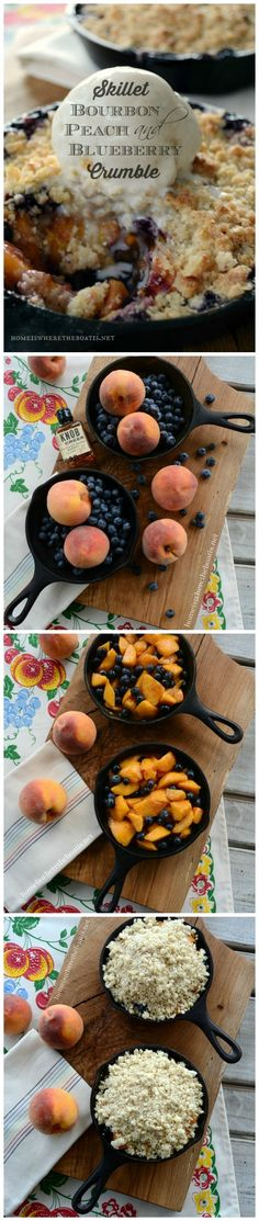 Skillet Bourbon, Peach and Blueberry Crumble! Skillet Bourbon, Peach and Blueberry Crumble! Mini Desserts, Individual Desserts, Summer Desserts, Just Desserts, Delicious Desserts, Dessert Recipes, Summer Fruit, Pizza Recipes, Kabob Recipes