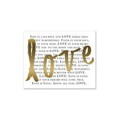 """Grandin Road Gold """"Love"""" Canvas (2,510 INR) ❤ liked on Polyvore featuring home, home decor, wall art, gold canvas wall art, gold wall art, typography wall art, word wall art and black stretched canvas"""