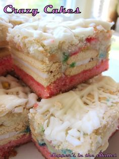 Strawberry cake, Vienna Fingers, and Funfetti drizzled with a white chocolate topping. AWESOME!