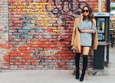 This outfit basically describes what L. It was warm enough to wear shorts but I wanted to be weather appropriate so I wore my suede … Song Of Style, My Style, Base Clothing, Elle Fashion, Camel Coat, Thigh High Boots, Knee Boots, Autumn Street Style, Thigh Highs