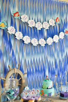 The Little Mermaid Birthday Party backdrop! See more party planning ideas at CatchMyParty.com!
