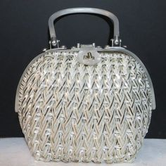 Vintage 1960s Lucite handle bowler handbag purse