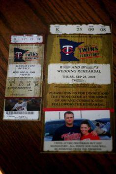 baseball ticket invitations- good idea for Shea Rehearsal Dinner Invitations, Wedding Rehearsal, Wedding Invitations, Wedding Day, Blue Wedding, Baseball Birthday, Baseball Party, Man Shower, Twins Baseball