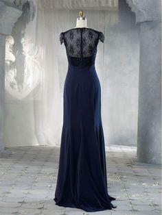 navy blue bridesmaid dress chifon floor length | line Cap Sleeves Floor Length/Long Navy Blue Chiffon Lace Bridesmaid ...