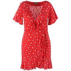 Boohoo Plus Bella Star Wrap Tea Dress (74 PEN) ❤ liked on Polyvore featuring dresses, midi bodycon dresses, jersey maxi dresses, bodycon dress, red bodycon dress and red mini dress