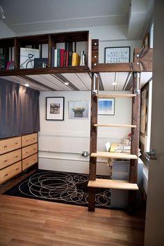 Semi-real stairs, bookshelf as guard rail, office beneath.  Lofty Aspirations: Fifteen Lovely Loft Beds
