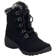 Khombu Women's Annie Winter Boot ($70) ❤ liked on Polyvore featuring shoes, boots, black, lace up boots, black laced boots, embellished boots, black lace up boots and water proof winter boots