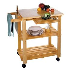 Winsome Wood 89933 Natural Solid Wood Kitchen Utility Cart for sale online Butcher Block Kitchen Cart, Kitchen Utility Cart, Kitchen Storage Cart, Kitchen Island Cart, Kitchen Tops, Kitchen Carts, Kitchen Islands, Butcher Blocks, Cheap Kitchen