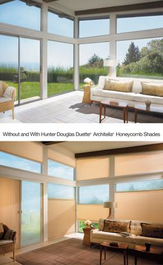 Make an interior glow with warm luminous light for the right finishing touch. Duette® Architella® Honeycomb Shades. ♦ Hunter Douglas Window Treatments #livingroom