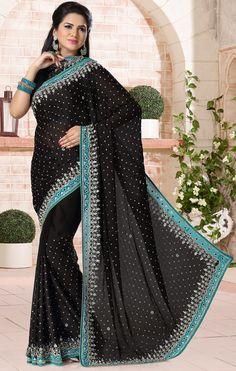USD 100.26 Black Satin Chiffon Wedding Saree 43896
