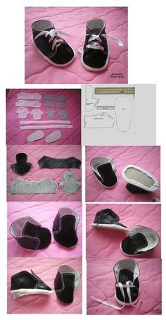 leathe… – Baby For look here Baby Doll Shoes, Baby Doll Clothes, Barbie Clothes, Diy Dolls Shoes, Doll Shoe Patterns, Baby Shoes Pattern, American Girl Doll Shoes, Leather Diy Crafts, Leather Craft