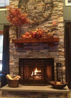 AirStone available at Lowes! This is a mix of the Spring Creek and Autumn Mountain colors. For the fireplace: (artificial stone decor) Airstone Fireplace, Fireplace Redo, Fireplace Remodel, Fireplace Design, Fireplace Ideas, Fall Fireplace, Fireplace Mantles, Mantel Ideas, Fireplace Makeovers