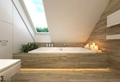 simple Bathroom Decor Modern bathroom by ELEMENTY - Pracownia Architektury Wntrz Loft Bathroom, Bathroom Windows, Family Bathroom, Simple Bathroom, Modern Bathroom, Bathroom Layout, Attic House, Attic Rooms, Bad Inspiration