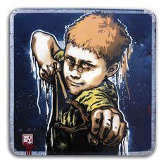 UNE PIERRE DEUX COUPS pochoir - stencil de RNST street art.