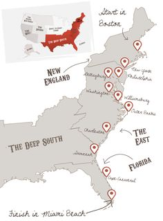 Ultimate East Coast Road Trip. Definitely names a few of the southern cities that I NEED to see someday