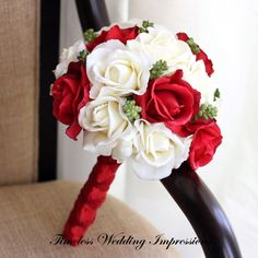 Red Bridal Bouquet Christmas Wedding Roses Real by TimelessWedding Wedding Cake Red, Rose Wedding, Dream Wedding, Wedding Colors, Wedding Gifts, Wedding Ideas, Prom Flowers, Bridal Flowers, Christmas Wedding Bouquets