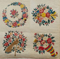 "Presentation quilt, Baltimore, Maryland, c. 1849, cotton and silk velvet, 36 squares, 106.25 x 103.75"", cotton and silk velvet"