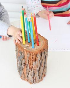DIY tree stump pencil holder