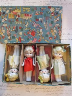 4 antique KEWPiE dolls - bisque, flappers - moveable arms - marked MADE iN JAPAN
