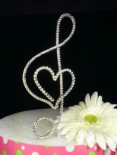 TREBLE CLEF Music Note with HEART Cake Topper for Wedding, Anniversary or Engagement Party