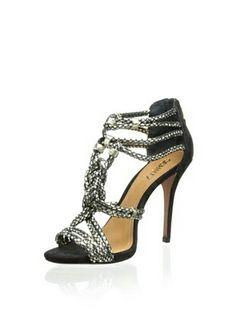 Black, metallic, sexy, high heel