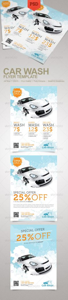 Car Wash Flyer #GraphicRiver Promote your business with a unique and creative flyer template package. Perfect for a wide range of car wash related businesses like: Car Wash Auto Detailing Services or Car Wash Equipment. Simple to work with and highly customizable, it ca be easily adjusted to fit your needs. Features: A4 Size CMYK 300 dpi Print Ready 3 design options Well named and organized layers Fully editable PSD templates Bleed and guidelines Font details in the Help file. Car image used…