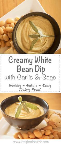 A delicious smooth and creamy white bean dip with garlic and sage that is the perfect dairy free spread to go on crackers or toast. Gluten free, dairy free, vegan.