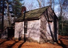 This replica of Thoreau's self-built cabin stands near the parking lot at Walden.
