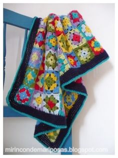 Colourful granny square afghan