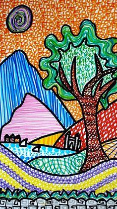 con gli alunni di prima B abbiamo realizzato dei paesaggi fantastici colorati con texture di tutti i tipi. ogni ragazzo ha inventato superfici diverse con i pennarelli colorati, verrebbe voglia di …