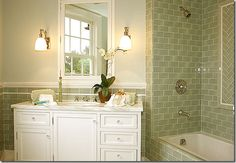 I'm thinking subway tile for the upstairs bathroom redo. I'm thinking GREEN subway tile. This site has A LOT of pics! Bathroom Tile Designs, Bathroom Renos, Bathroom Interior, Small Bathroom, Bathroom Ideas, Master Bathroom, Bathroom Modern, Downstairs Bathroom, Bathroom Inspo