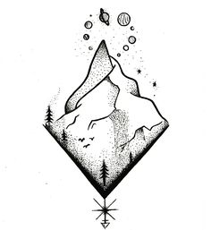Tattoo Drawings, Body Art Tattoos, Small Tattoos, Art Drawings, Marshmello Wallpapers, Dibujos Tattoo, Triangle Art, Artist Pens, Mountain Tattoo