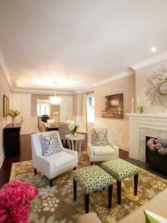 Tile on the fireplace, dining/living room combination, light + bright - Meredith Heron's Design