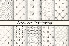 Check out 10 Anchor monochrome patterns by Svetolk on Creative Market