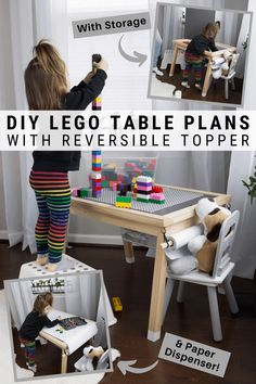 My DIY lego table with storage doubles as an art table with a paper dispenser and space for art supplies. Grab the free build plans now! Unique Woodworking, Woodworking Projects For Kids, Woodworking Plans, Diy Furniture Projects, Diy Wood Projects, Handmade Furniture, Table Activities For Toddlers, Lego Table With Storage, Diy Storage