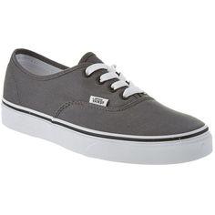 Vans Vans Unisex Authentic Sneaker (405993601) ($50) ❤ liked on Polyvore featuring shoes, sneakers, grey, vans trainers, grey shoes, grey canvas shoes, grip trainer and grey sneakers